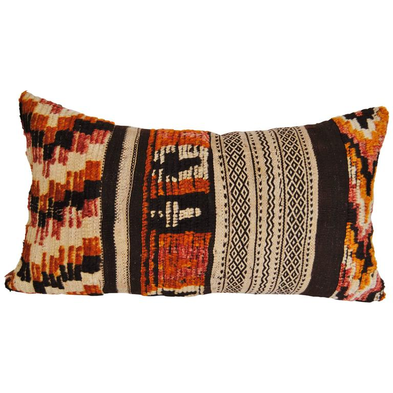Custom Pillow Cut From A Hand-Loomed Wool Moroccan Rug