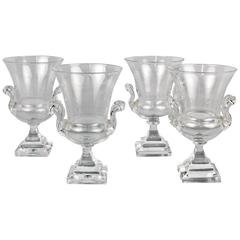 Set of Four Mid-Century Steuben Glass Campagna Form Table Urns