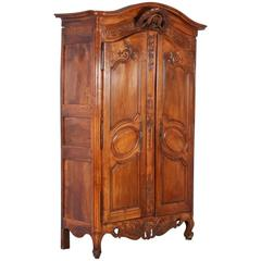 Antique French Chestnut Wedding Armoire with Love Birds, circa 1790