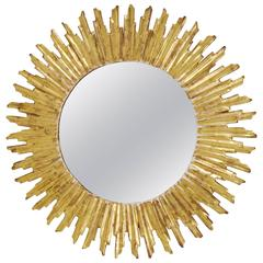 Beautiful Carved Giltwood Sunburst Mirror, France, 1950s
