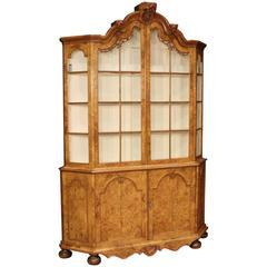 19th Century Walnut and Burl Elm Bookcase Display Cabinet
