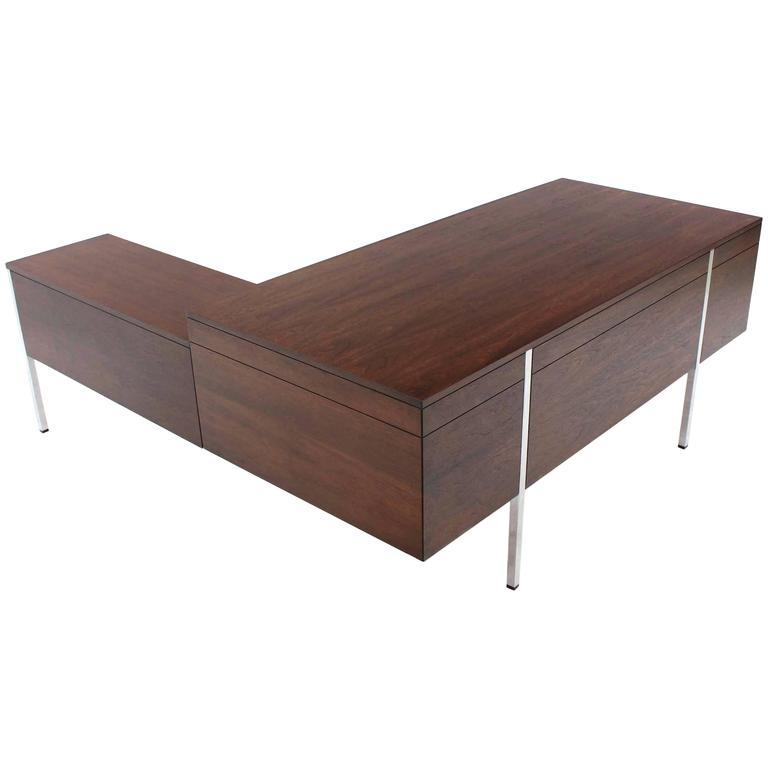 Dunbar Large Walnut Executive Desk with Return For Sale