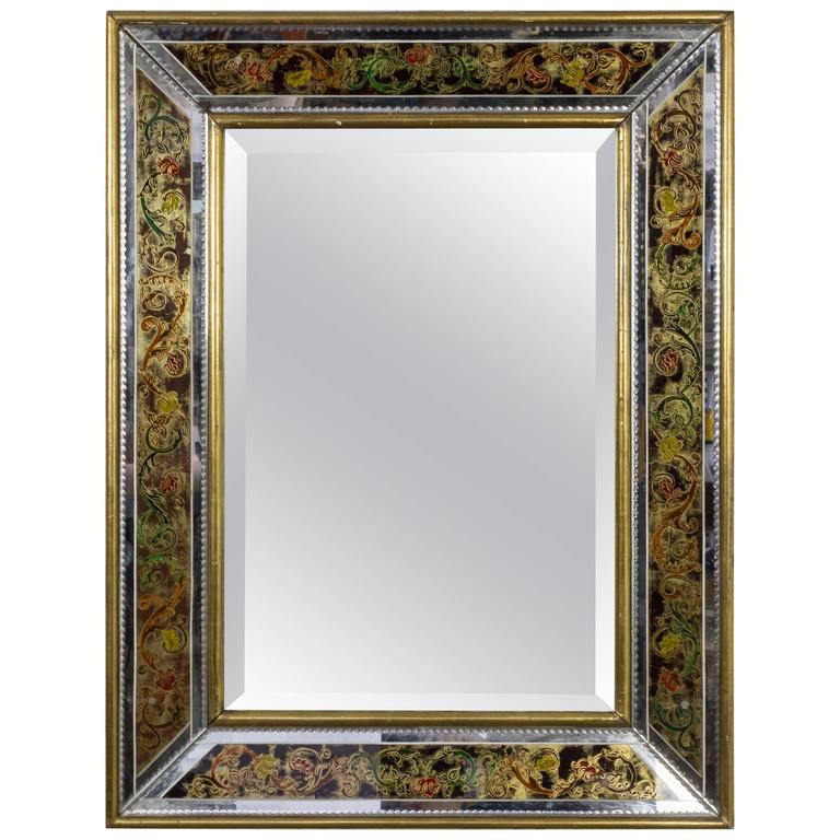 French, 1940s Reverse Painted Mirror