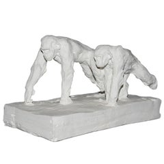 Sculpture Double Chimpanzee in Plaster Limited Edition 30/50 by J.B Vandame 2015