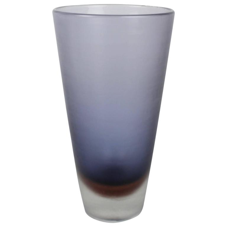 Mid-Century Venini Blue and Brown Inciso Glass Vase by Paolo Venini, 1950s
