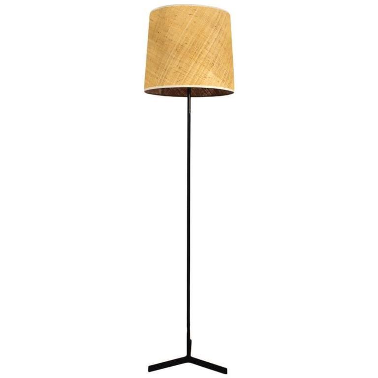 1950s minimalist standing lamp steel raffia lampshade spain for 1950s minimalist standing lamp steel raffia lampshade spain for sale mozeypictures Gallery