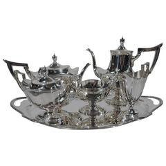 Gorham Plymouth Sterling Silver Tea and Coffee Set on Tray