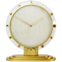 Large Modernist Brass Table Clock, Germany, 1950s