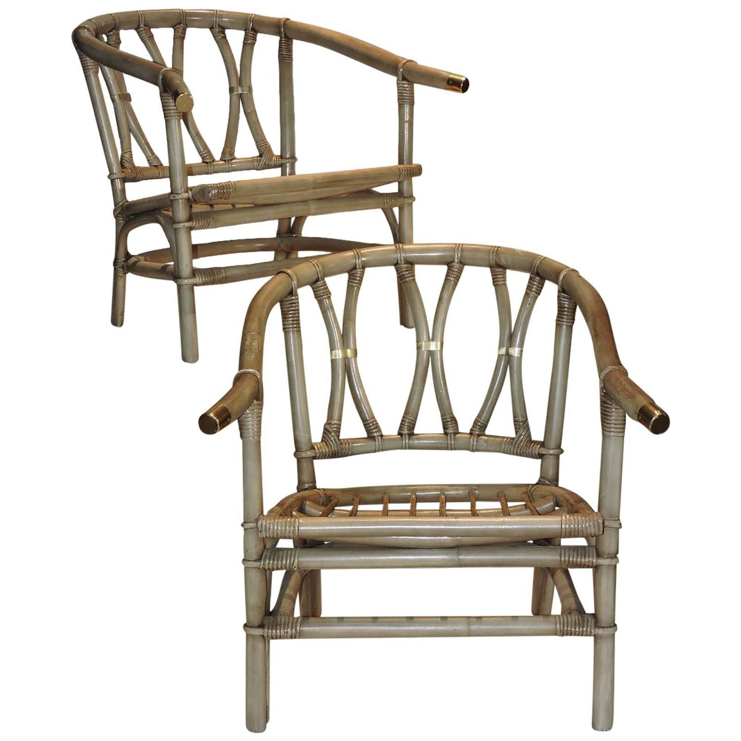 Ficks Reed Bamboo and Brass Lounge Chairs at 1stdibs
