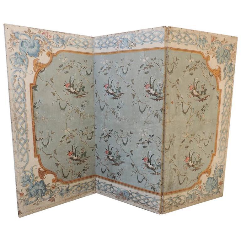 18th C Venetian Hand-Painted Folding Screen
