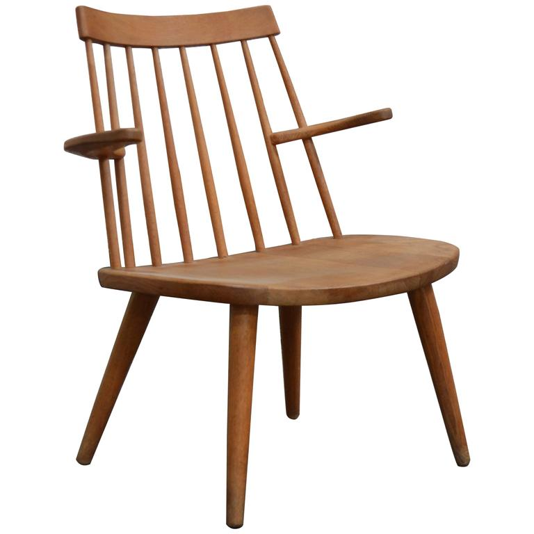 """Oak Easy Chair by Yngve Ekström Model """"Sibbo,"""" circa 1950s"""