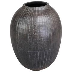 Contemporary '2016' Kintzugi Smoke Fired Vase One of a Kind, Karen Swami