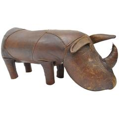 1970s Sarreid Distressed Leather Rhinoceros Footstool after Abercrombie & Fitch