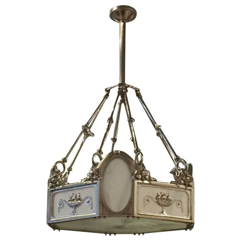 French Art Deco Bronze Chandelier  For Sale