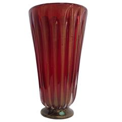 Monumental Archimede Seguso Ribbed Glass Murano Vase with Gold Flecks