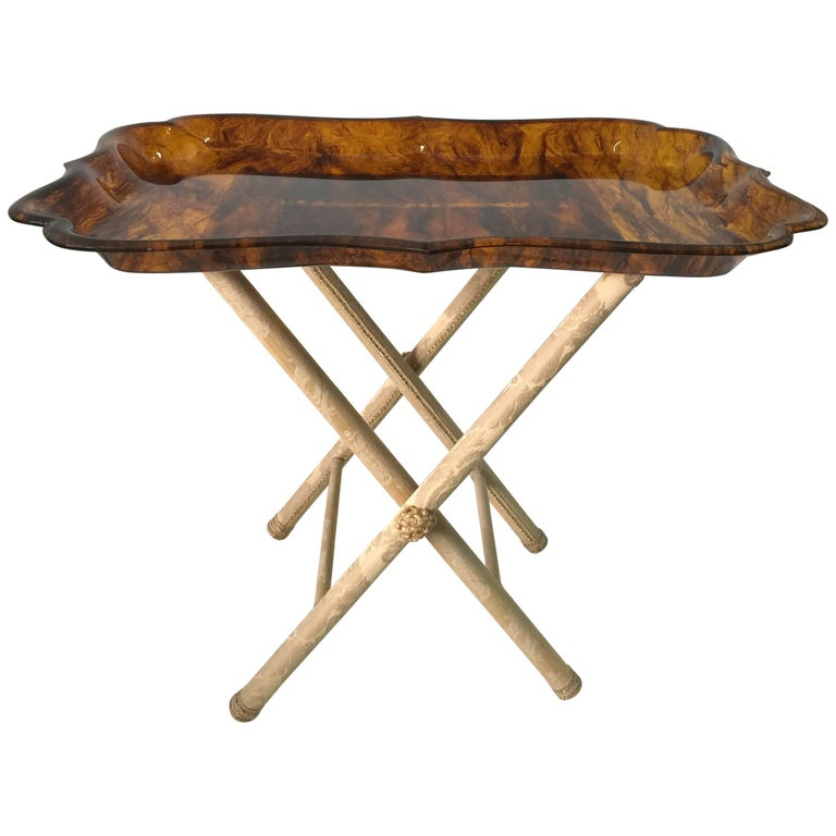 Exceptionally Large Tortoise Acrylic Tray on Fortuny Silk Covered Stand _SALE_ For Sale
