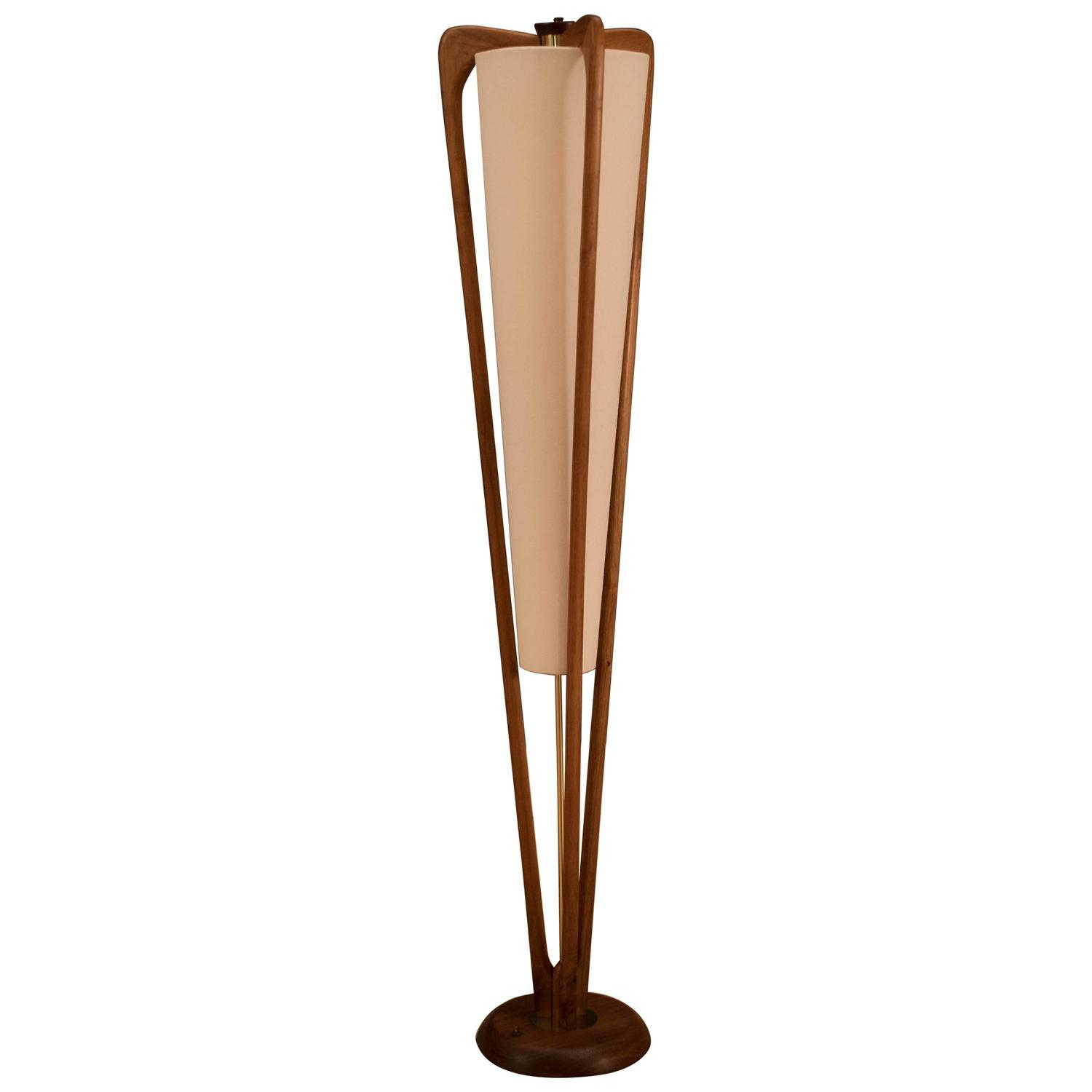 mid century modeline walnut floor lamp at 1stdibs. Black Bedroom Furniture Sets. Home Design Ideas
