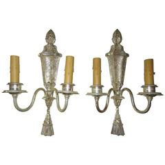 Pair of Georgian Style Silver Plate Wall Sconces by Edward F. Caldwell & Co