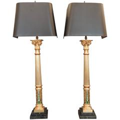 Pair of French Brass, Enamel and Marble Art Nouveau Lamps
