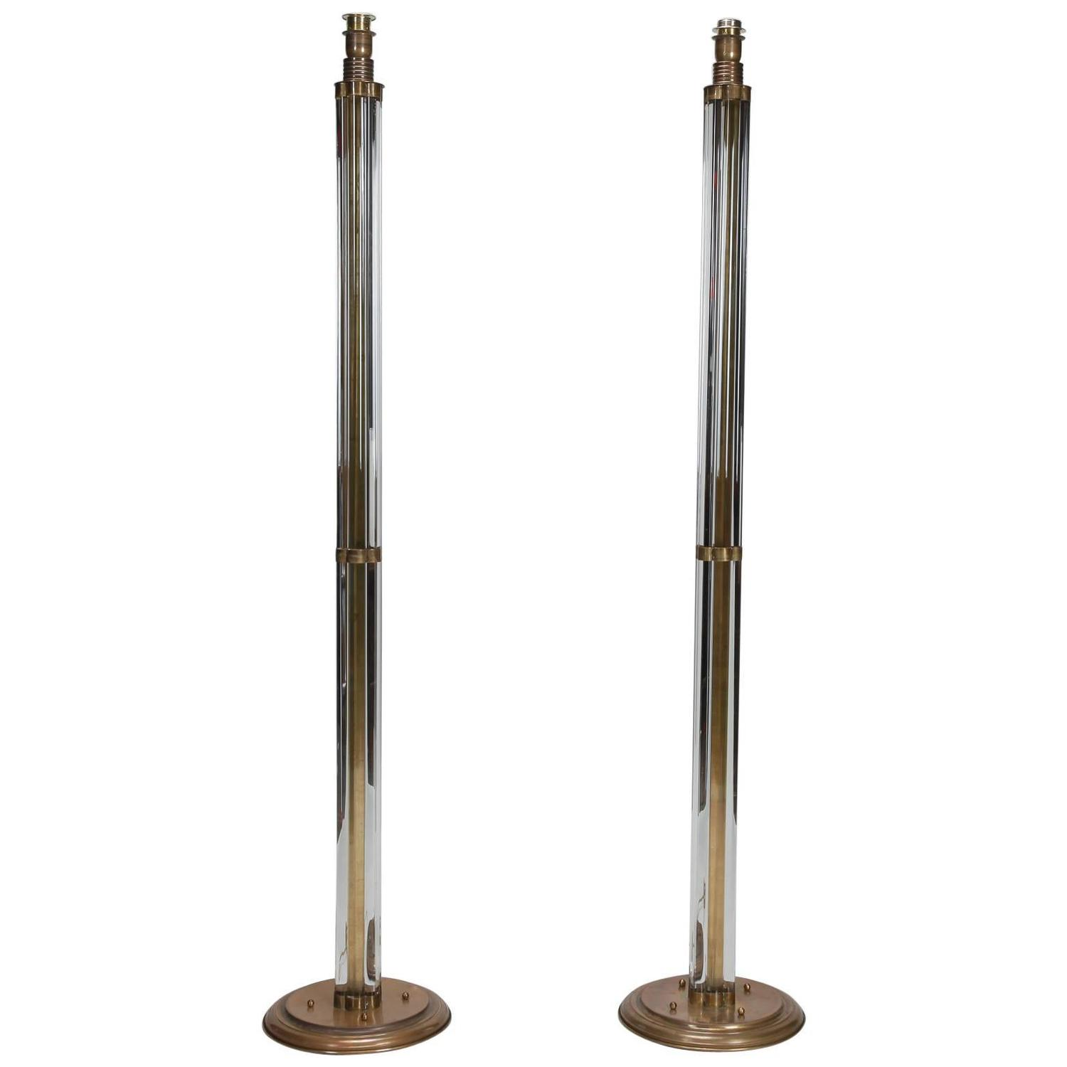 Pair of tall murano glass rod and brass floor lamps for for Milan floor lamp antique brass 165cm