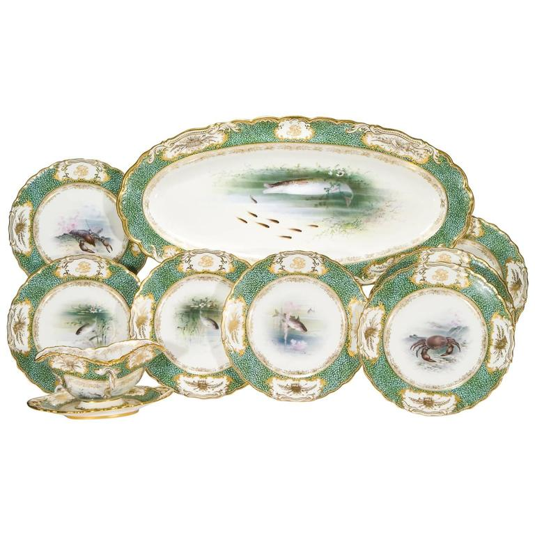"""18-Piece Coalport Hand-Painted Artist Signed Fish Service with """"Shagreen"""" Border For Sale"""