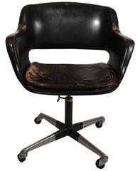 Finnish Black Leather Swivel Chair, circa 1960s