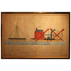 "Original 1779 Watercolor of a ""Floating Machine"""