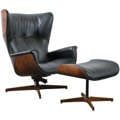 Mid-Century Modern Lounge Chair and Ottoman by George Mulhauser
