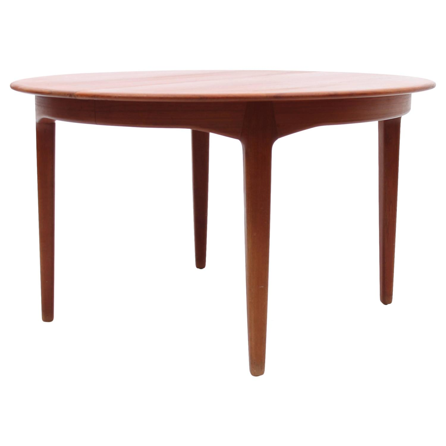 Danish Mid Century Teak Round Dining Table By Henning Kjaernulf 1962
