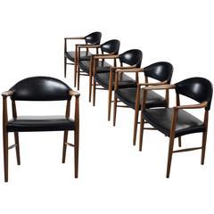 Set of Six Scandinavian Armchairs in Stained Oak