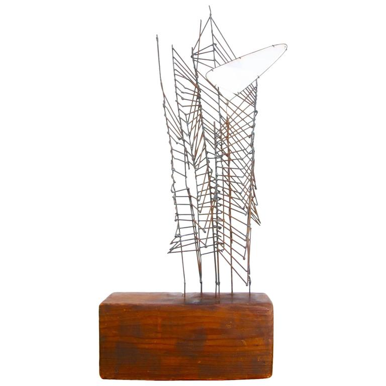 Mid-Century Abstract Metal and Wood Sculpture
