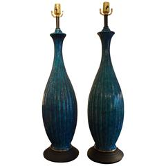 Stately Pair of Italian Glazed Pottery Lamps