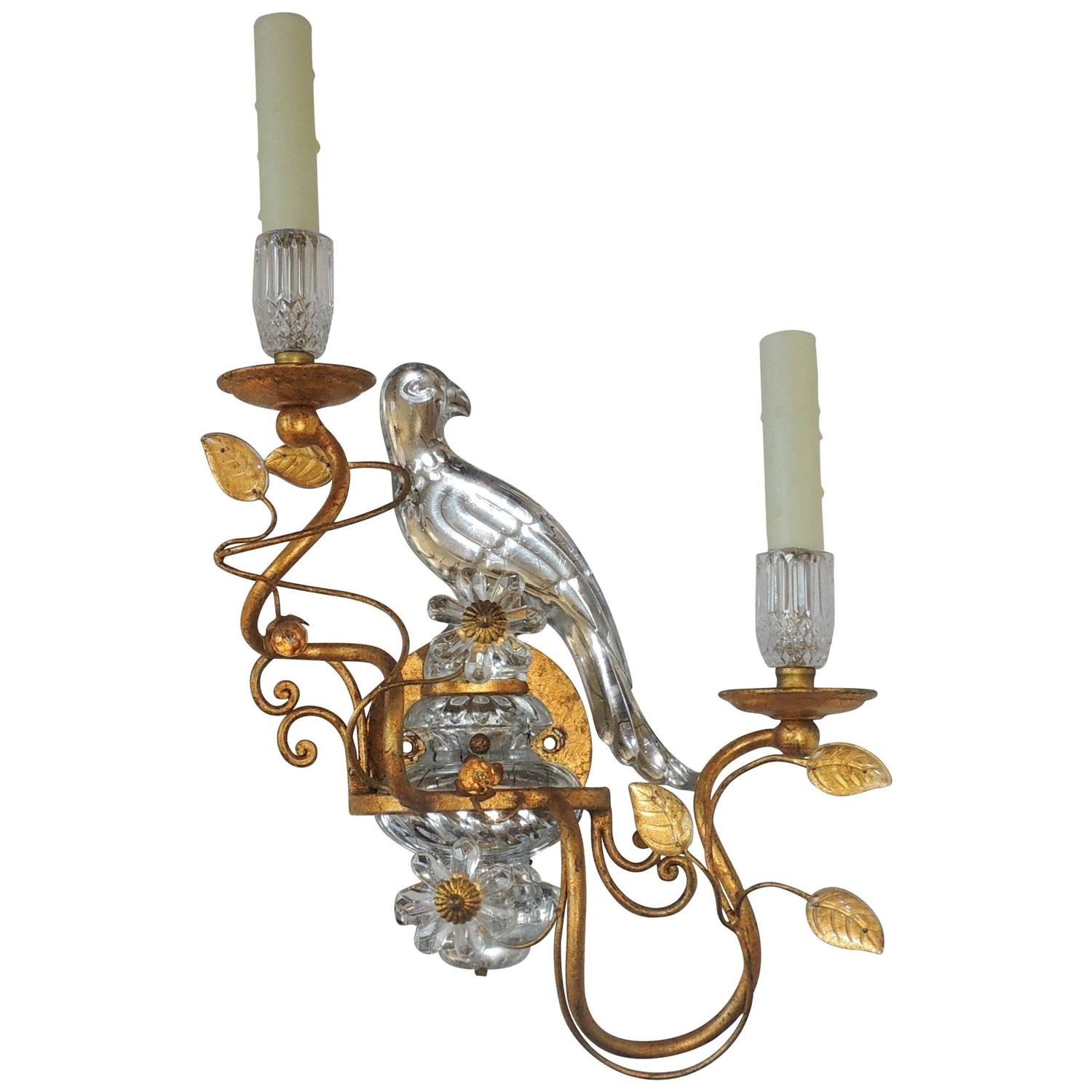 Wall Sconces With Birds : Wonderful Gilt Maison Bagues Glass Rock Crystal Style Parrot Bird Sconce 2 Arm at 1stdibs