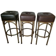 English Leather Bar Stools