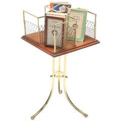 Brass and Mahogany Revolving Bookstand