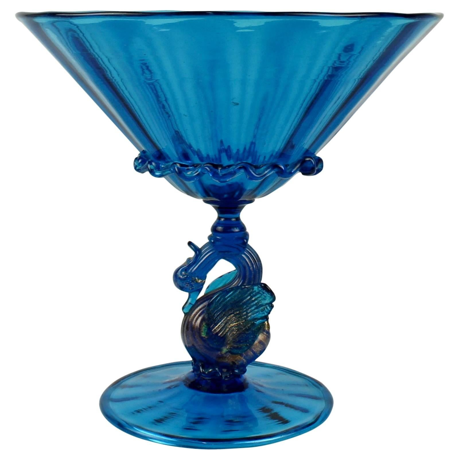 Large Salviati Blue Venetian Glass Footed Bowl or Fruit Stand with Swan Support