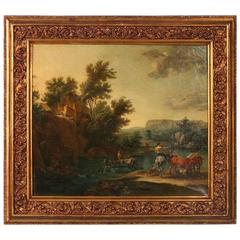 Original Oil on Canvas, Signed Flemish Landscape of River Crossing with Cattle