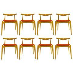 "Set of Eight Hans Wegner for Carl Hansen ""Elbow"" Chairs in Oak"
