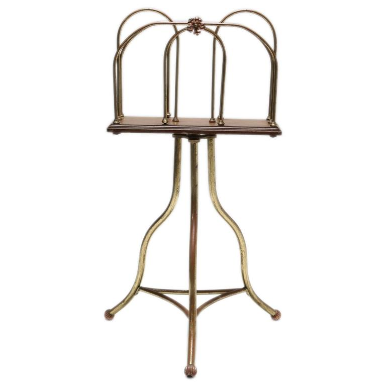 Magazine Stand in Brass and Oak