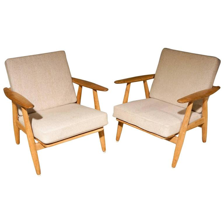 Pair Of Hans Wegner Cigar Chairs In Oak For Sale At 1stdibs