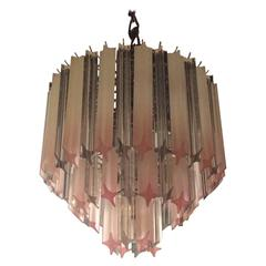 Pink Lucite Chandelier Vintage Three-Tier Hollywood Regency Palm Beach Chrome