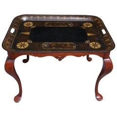 American Tole and Mahogany Tray on Stand, Circa 1830
