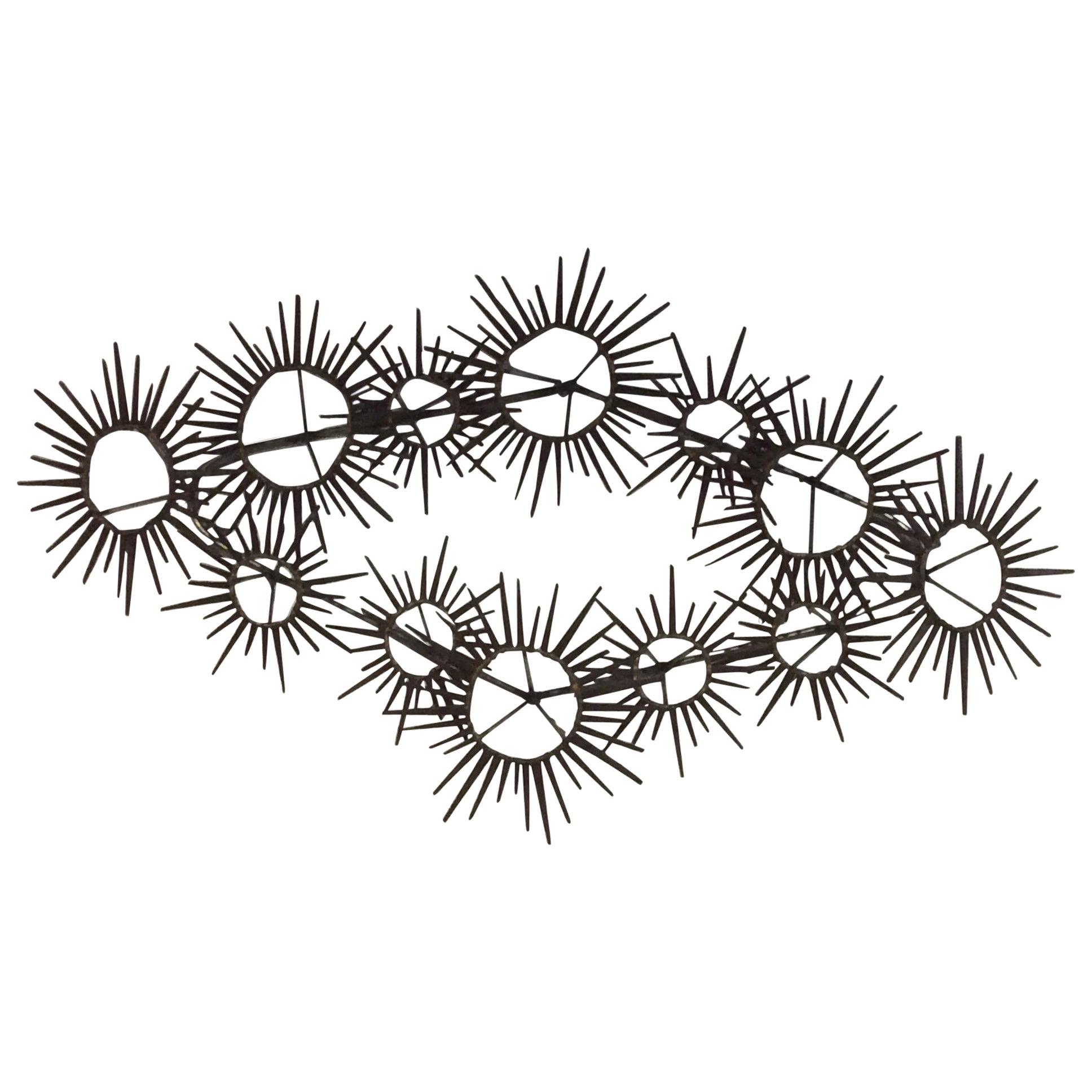 Brutalist Nail Wall Art Mid-Century Modern Vintage Sunburst Starburst Metal