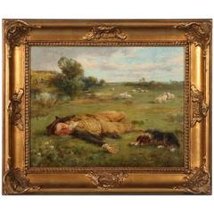 Oil on Canvas Landscape of Shepherd and His Dog, circa 1900