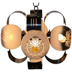 Italian Chrome Pendant, Murano Glass Globes,  A.V. Mazegga
