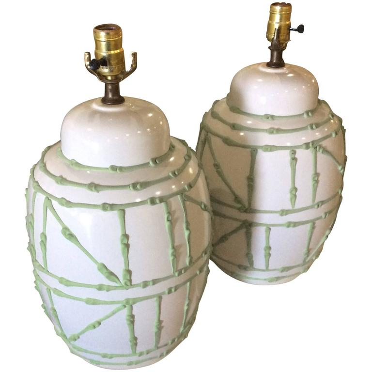 Ginger Jar Vintage Pair Faux Bamboo Green Icing Table Lamps Palm Beach White  1