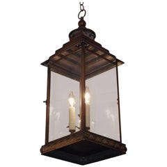 English Faux Painted Tin Hanging Glass Lantern, 20th Century