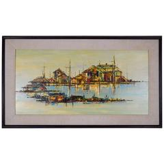 "Mid-Century Hardline Oil on Masonite ""Fishing Village Two"" by Edward Cathony"