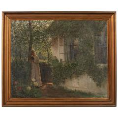 Original Oil on Canvas of Woman Outdoors Reading Book, Signed/Dated Alfred Broge