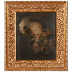 Original Oil on Panel, the Cat & Mouse Attributed to Joseph Paulman, 1821